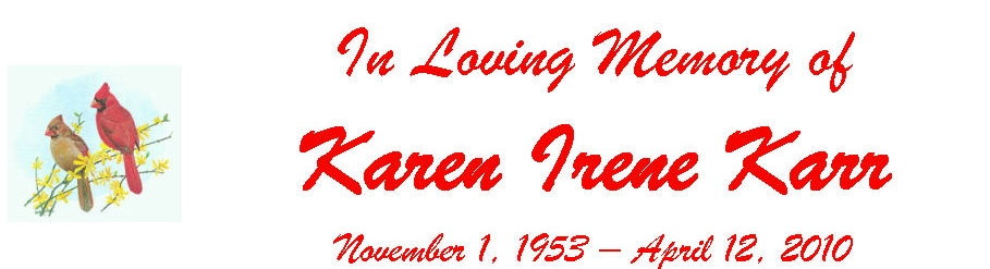 In Loving Memory of Karen Irene Karr November 1, 1953 - April 12, 2010 (Karen I. Karr)